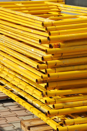 metalic: Stack of steel scaffolding on construction site work