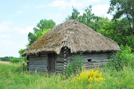 Ancient traditional ukrainian rural wooden barn, Kiev, Ukraine Stock Photo