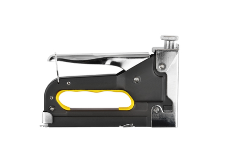office stapler: Steel black stapler, isolated on white background