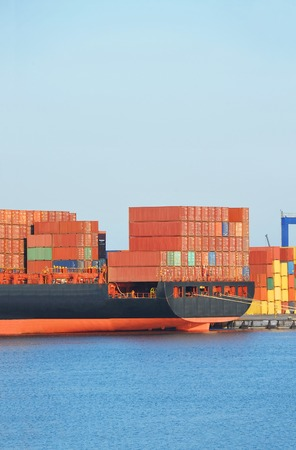 Ship with container in port of Odessa, Ukraine