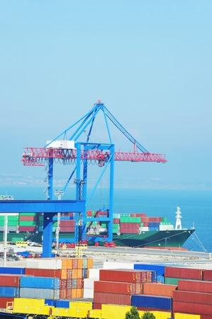 Port cargo crane, ship and container, Odessa, Ukraine Stock Photo
