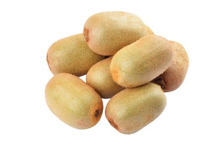 actinidia deliciosa: Green kiwi fruit (Actinidia deliciosa), isolated on white background