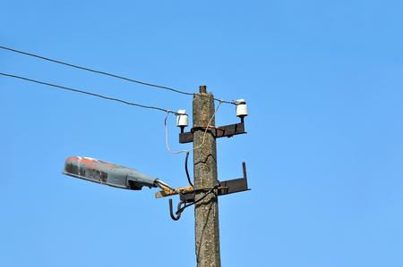 Vintage street light over blue sky background Stock Photo