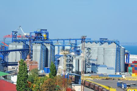 dryer: Grain silo in the port of Odessa, Ukraine Stock Photo