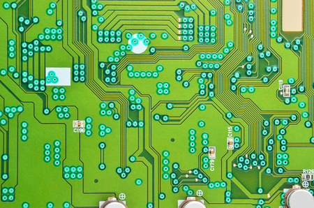 Close up of a printed green CD-ROM circuit board Stock Photo
