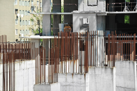 Armature rod for reinforcing on construction site Stock Photo