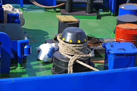 Mooring winch mechanism with hawser on ship deck 스톡 콘텐츠