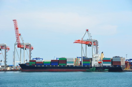 Port cargo crane, ship and container, Odessa, Ukraine Zdjęcie Seryjne