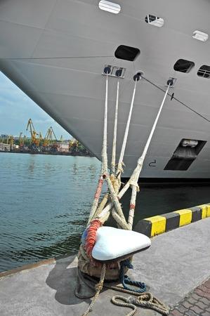 Cruise tourist ship mooring in port of Odessa, Ukraine 写真素材