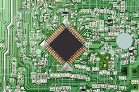 Close up of printed green circuit board