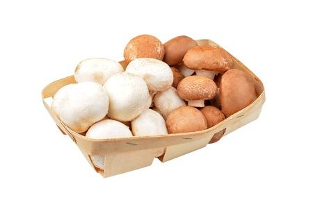 Fresh raw mushroom (champignon) in basket on white background