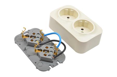 Plastic power socket, isolated on white background