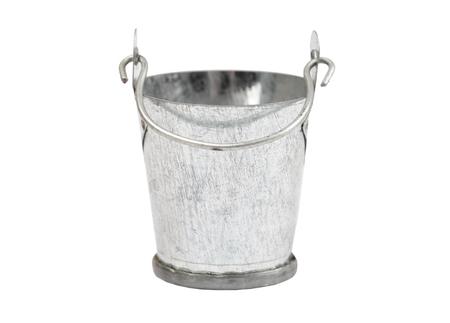 Metallic zinced bucket, isolated on white background 写真素材