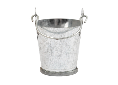 Metallic zinced bucket, isolated on white background Banque d'images