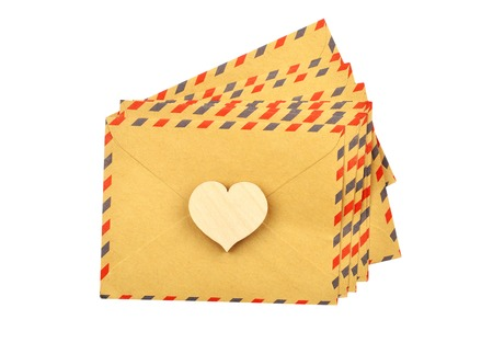 Envelope and heart, isolated on white background