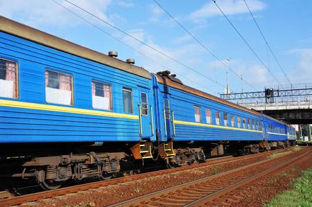 Wagon of old passenger train on railway