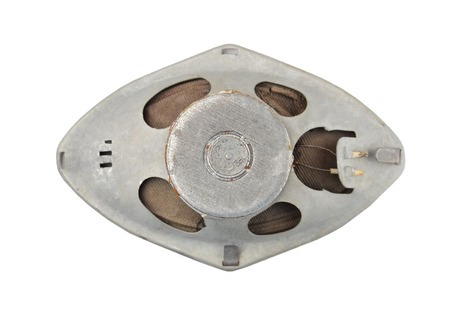 Vintage dynamic speaker, isolated on white background