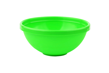 Green plastic basin, isolated on white background