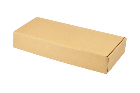 Retro cardboard box, isolated on white background