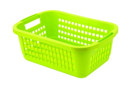Green plastic basket, isolated on white background