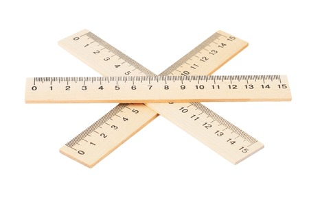 Retro wooden ruler, isolated on white background