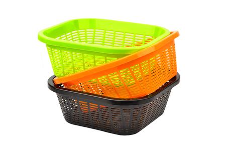 Storage plastic basket, isolated on white background