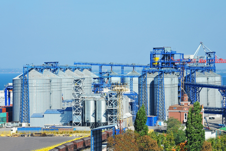 Grain silo in the port of Odessa, Ukraine 免版税图像