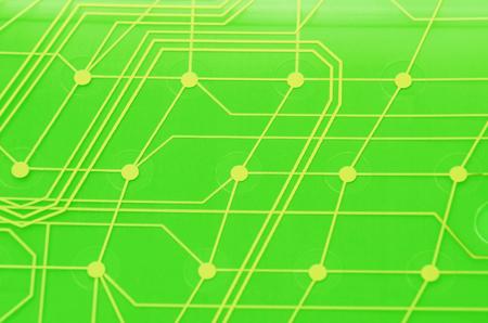 Keyboard circuit membrane, green toned, close up Stock Photo