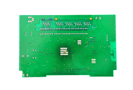 Green printed router motherboard with microcircuit on white Reklamní fotografie