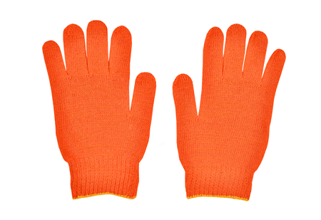 Red workwear glove, isolated on white background