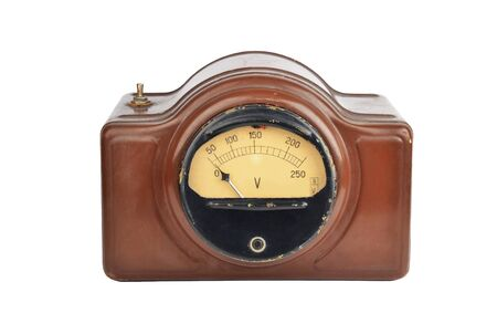 Vintage soviet voltmeter, isolated on white background
