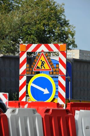Sign and fence on road construction work Stockfoto