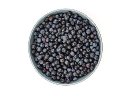 Blueberry in bowl, isolated on white background