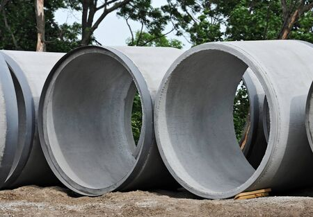 Concrete circle pit block on construction site