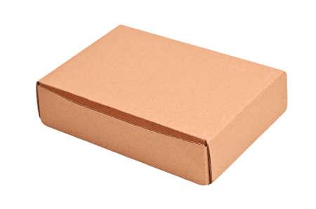 Retro cardboard box, isolated on white background