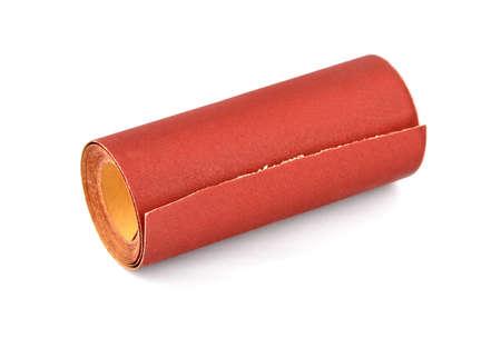 Roll of sandpaper, isolated on white background Banco de Imagens