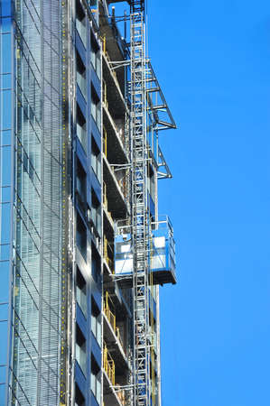 Technical elevator on building construction site work