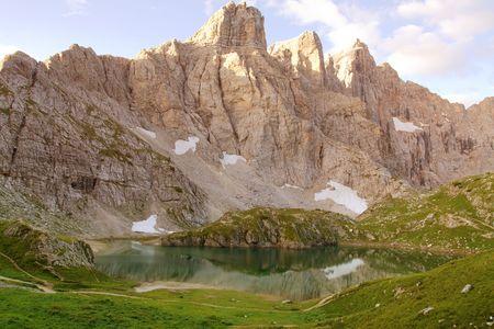 Coldai lake, in the Dolomites, photo