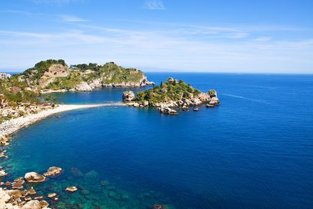 scenary: Isola bella, a small island near Taormina, Sicily Stock Photo