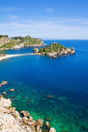 Isola bella beach, near Taormina Foto de archivo