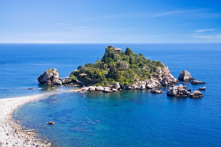 Sea of Sicily; Taormina beach with Isola Bella photo