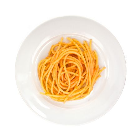 spaghetti: A plate of spaghetti pasta with tomato sauce seen from above; isolated on white background
