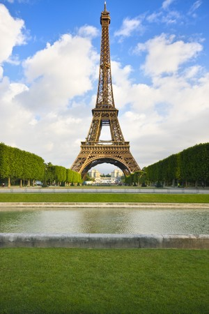 Eiffel tower in Paris from champ the mars, green grass on foreground Stock Photo - 7440255