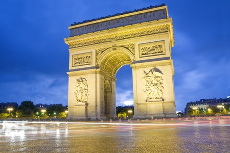 Paris, Arc de Triomphe by night - Long Exposure photo