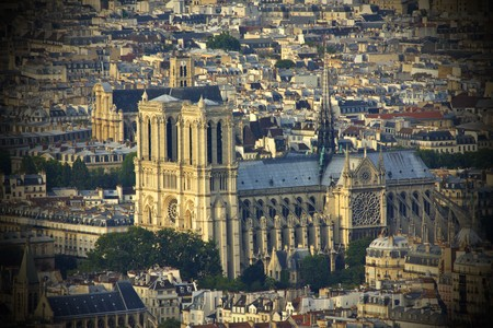 Aerial view of Notre Dame in Paris at sunset photo
