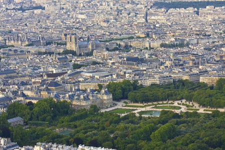 Paris skyline  with Notre Dame and Jardin du Luxembourg photo