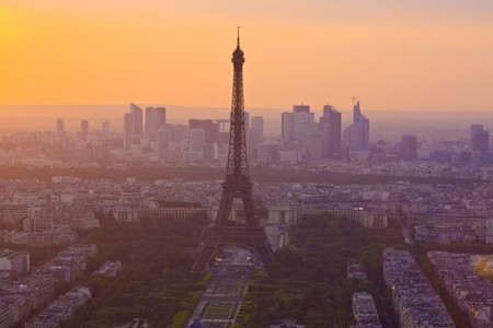 Paris skyline at sunset with Eiffel tower photo