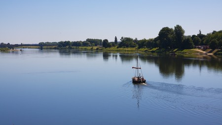 loire: A boat on the Loire River in blois, France