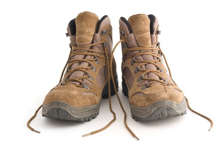 a pair of: A pair of Hiking boots, isolated on white background Stock Photo