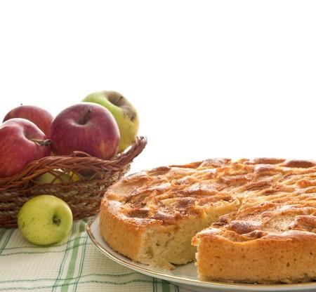 apple pie: Tarta de manzana casera aislado en blanco